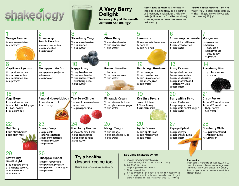 Greenberry Shakeology recipe calendar