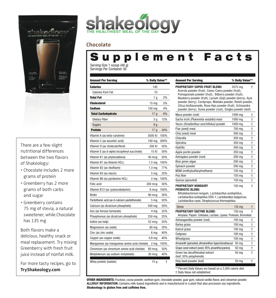 shakeology nutrition facts label shakeology nutrition label