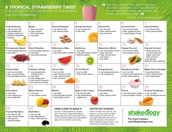 Shakeology Tropical Strawberry recipe calendar