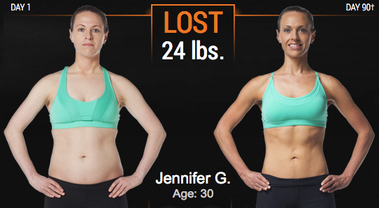 Jennifer's P90X3 before and after results
