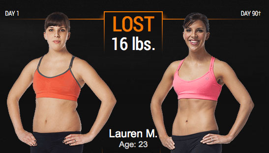 Lauren's P90X3 results (before and after)