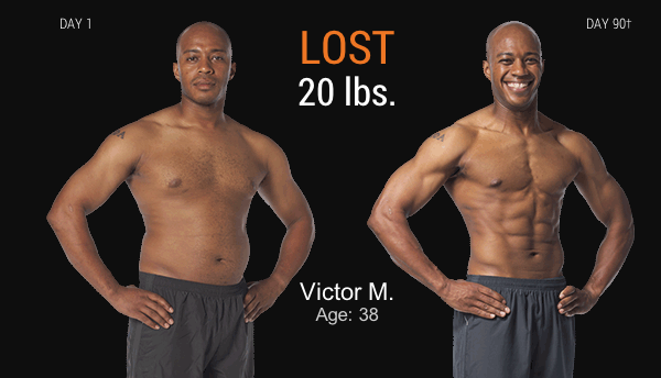 Victor's P90X3 results with before and after